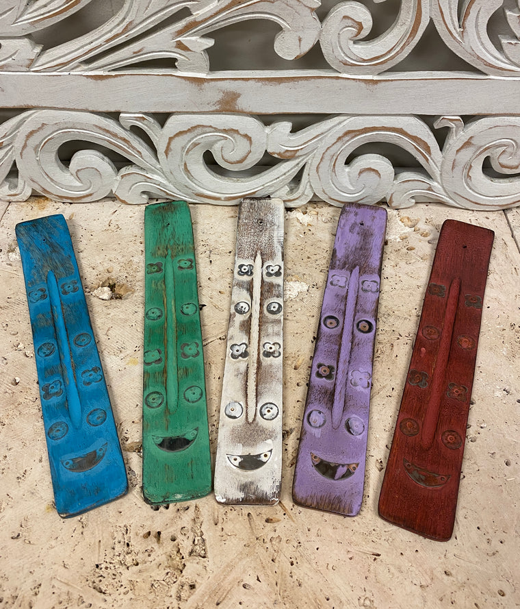 Paint Washed Wood Burners w/ designs - Available in 5 Colors