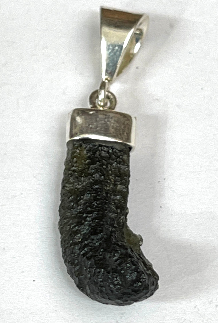 Sterling Silver Raw Moldavite Pendant - Transformation