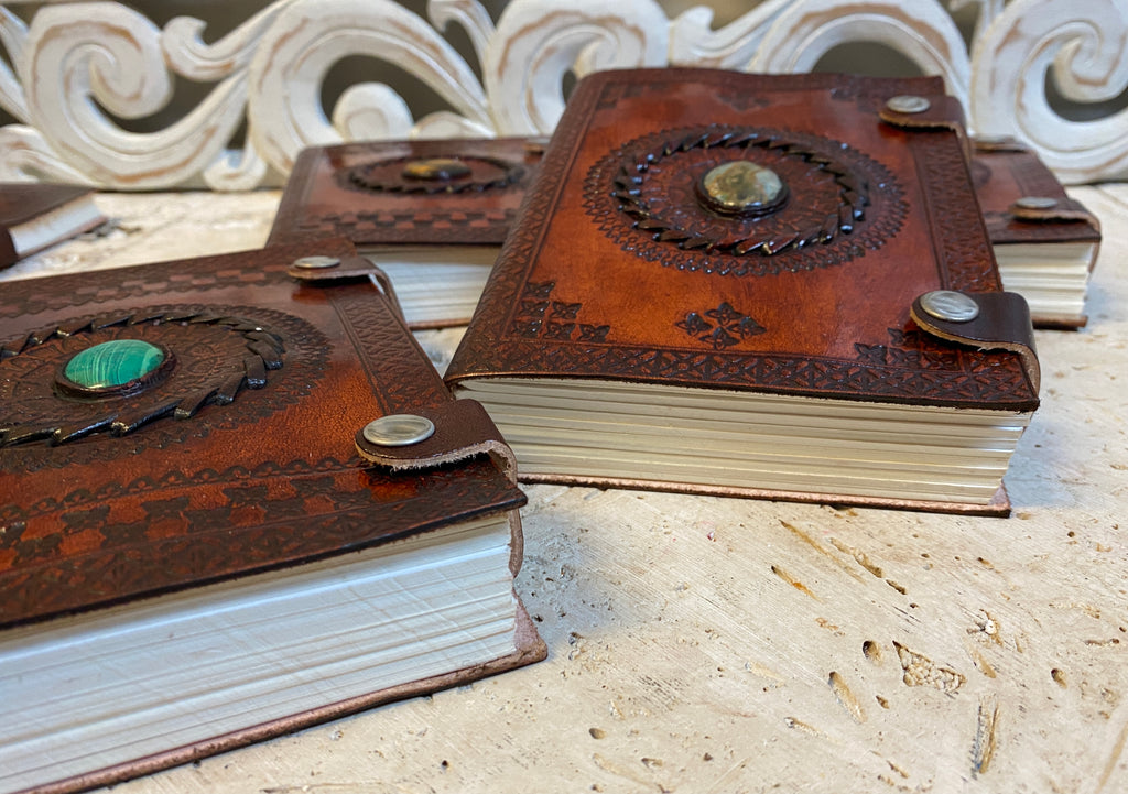 "Hand Embossed Camel leather Journal with Gemstones & Button Clasp - 5"" x 7"" x 1"""