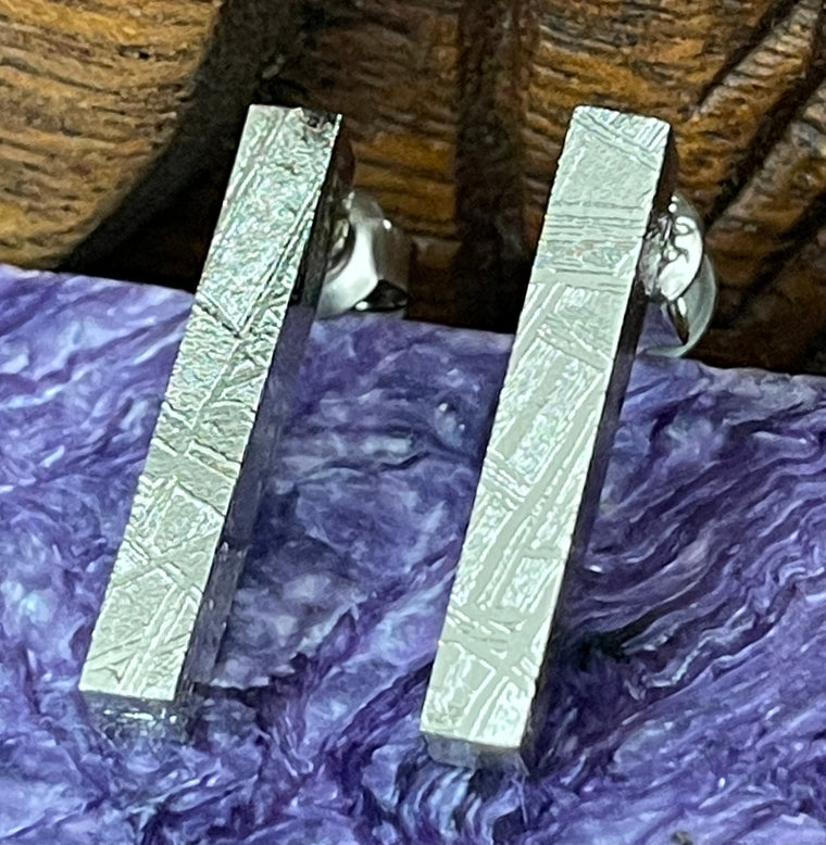 Sterling Silver Iron Meteorite Bar Earrings