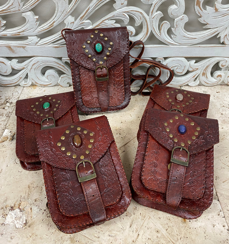 Hand Made Camel Leather purse with Gemstones 3 Pockets! 8