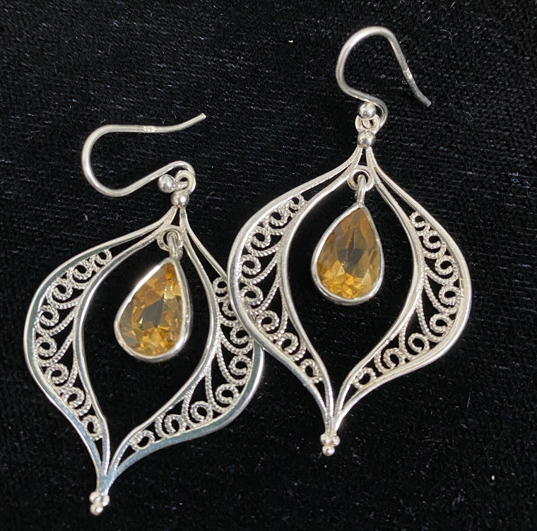 Sterling Silver Swinging Pair Earrings - Available in 9 stones