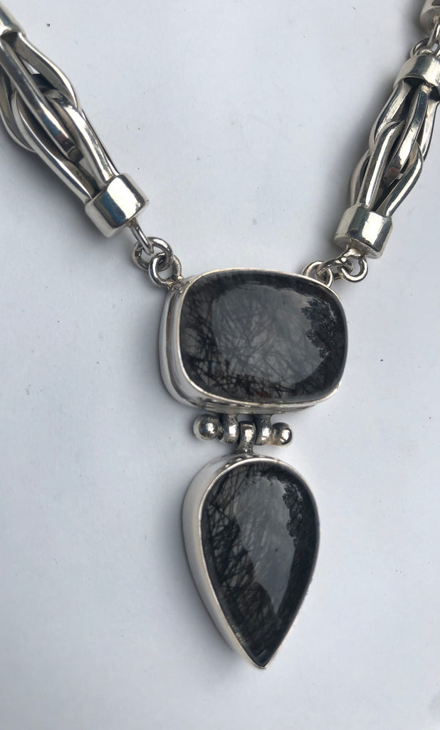 Sterling Silver (925) Tourmalated Quartz  Necklace