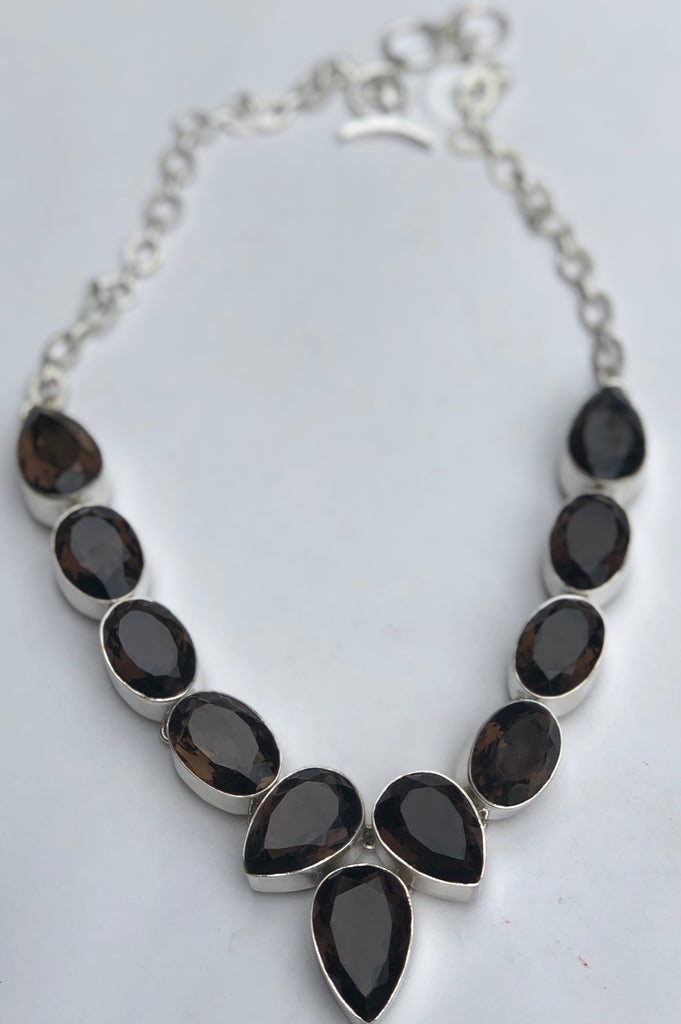 Sterling Silver Large Stone Faceted Smokey Quartz Necklace