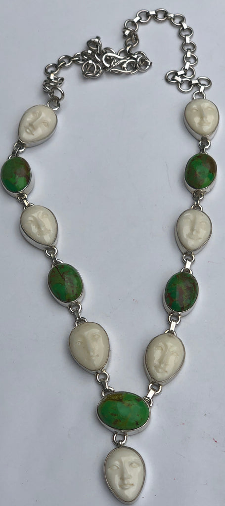 Sterling Silver Handcarved Bone Face and Green Turquoise Necklace