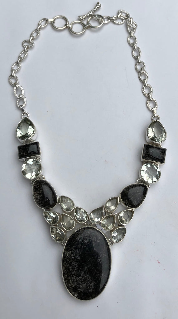 Sterling Silver Tourmalated Quartz and Green Amethyst Necklace