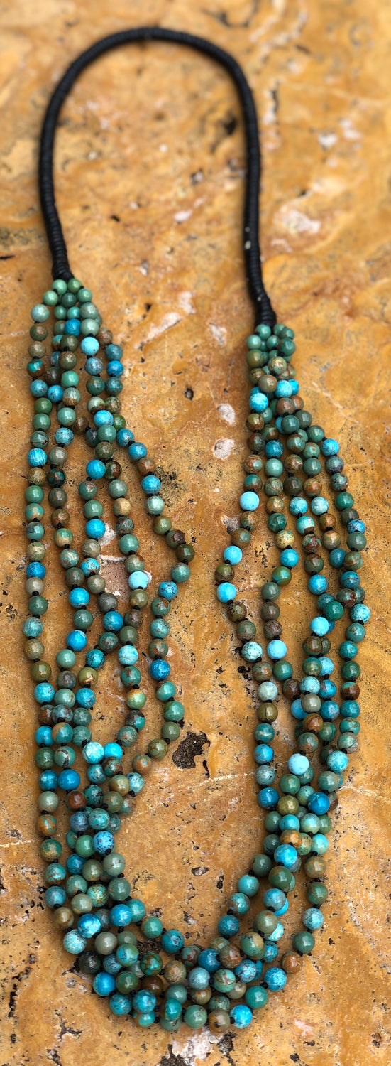 "32"" Hand knotted 5 strand Natural Turquoise 6mm Rounds Necklace"