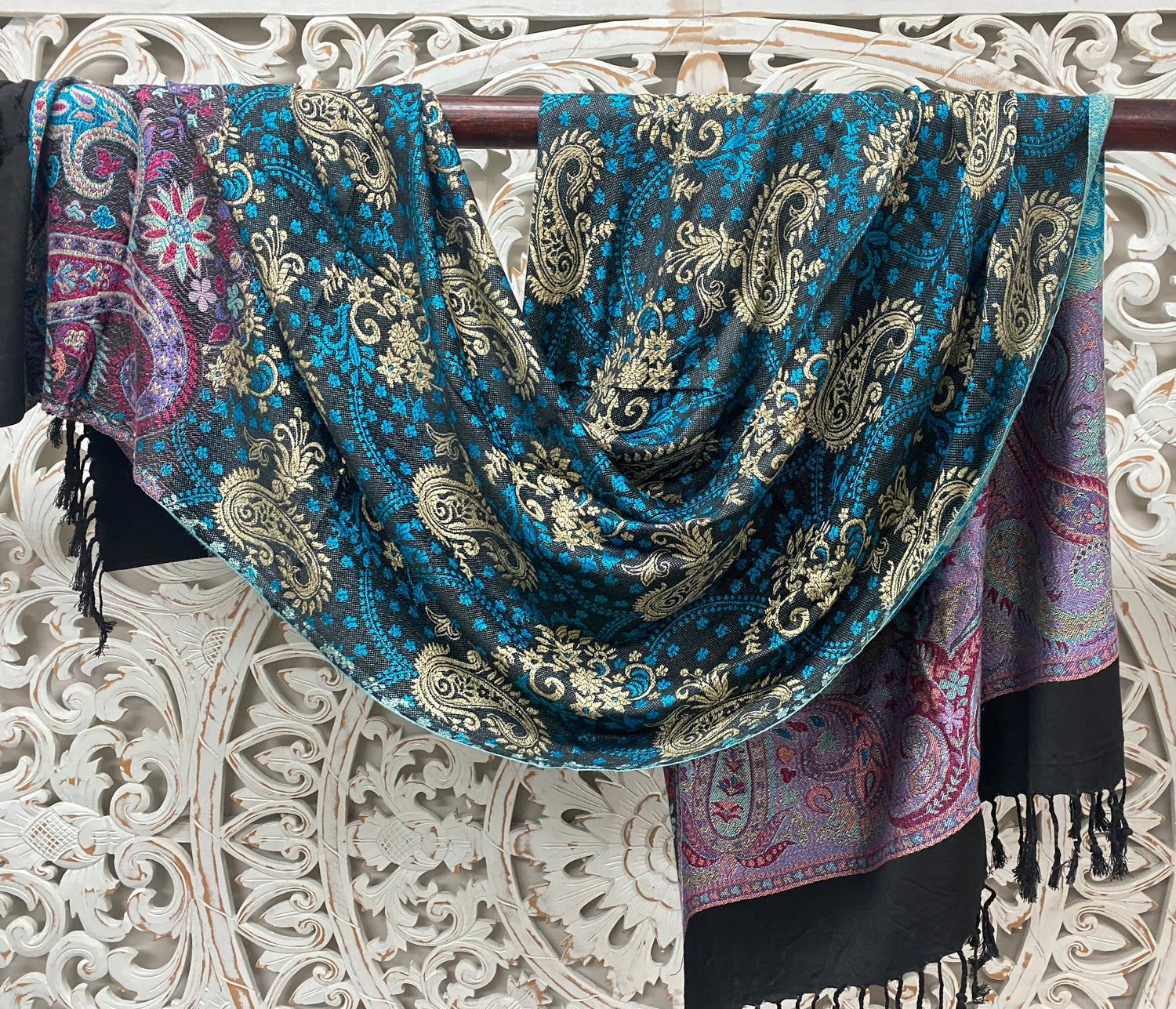 Silky Soft Pashmina Scaves with Black Edge