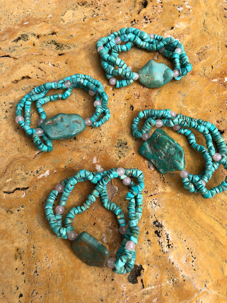 Natural Turquoise Three strand bracelets with Rose Quartz
