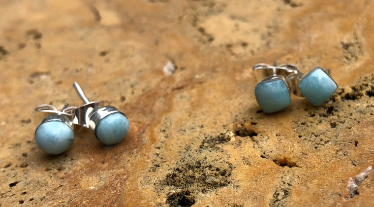 Sterling Silver Larimar Stud Earrings - Available in round or square