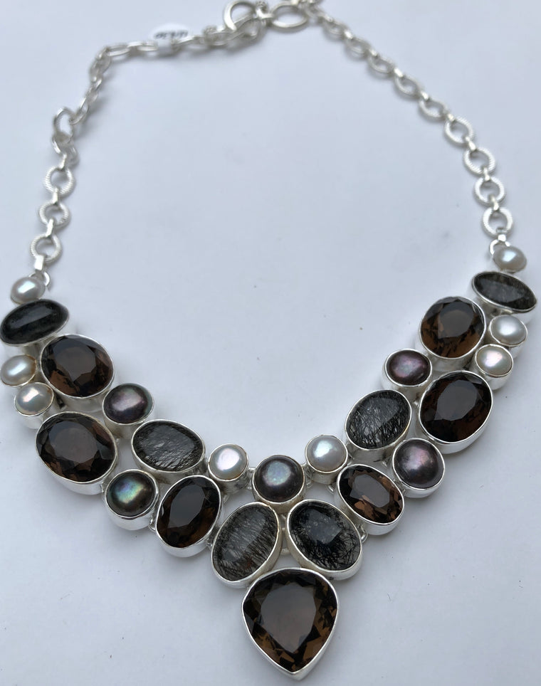Tourmalated Quartz, Smokey Quartz and Fresh Water Pearl Necklace