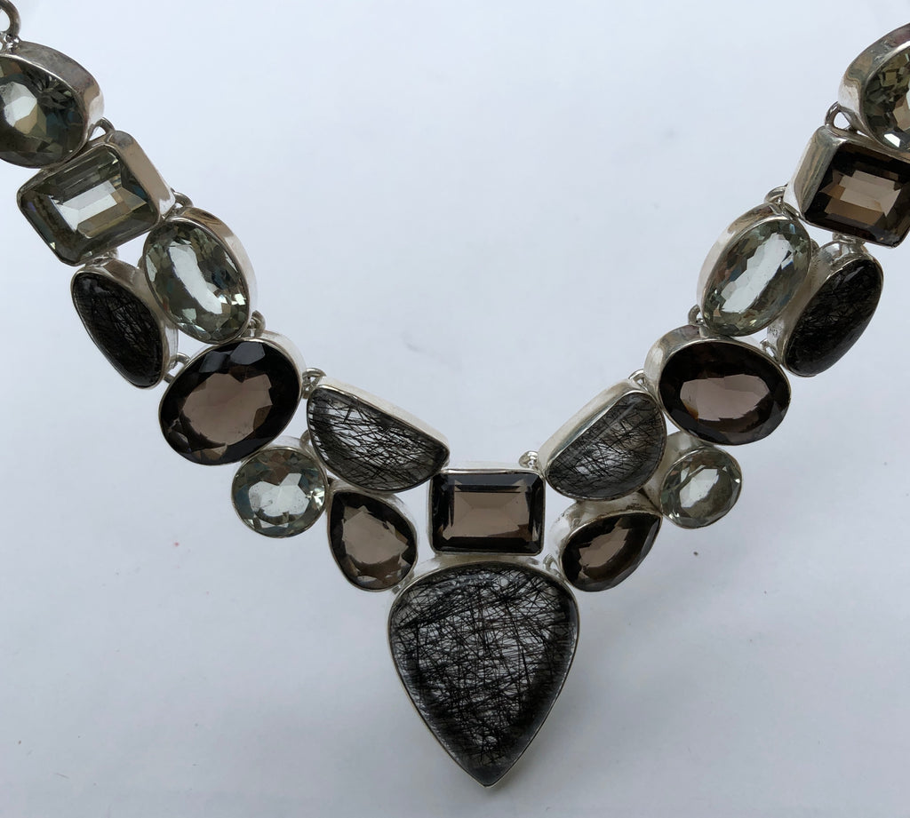 Tourmalated Quartz, Smokey Quartz and Green Amethyst Necklace
