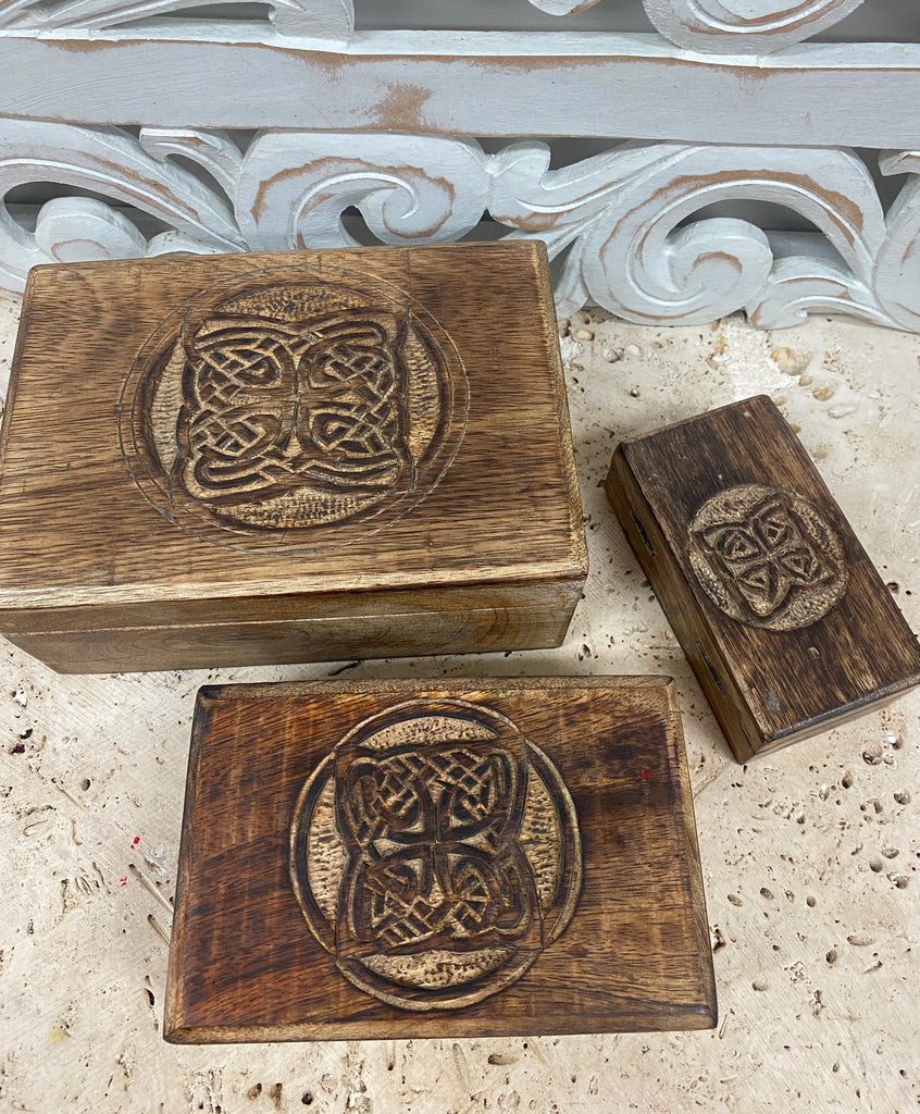 Set of Three Hand Carved Mango Wooden Boxes with Celtic knots - 3 designs available