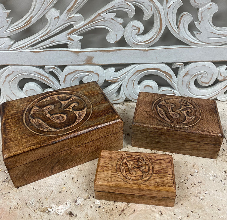 Set of Three Hand Carved Mango Wooden Boxes with Om