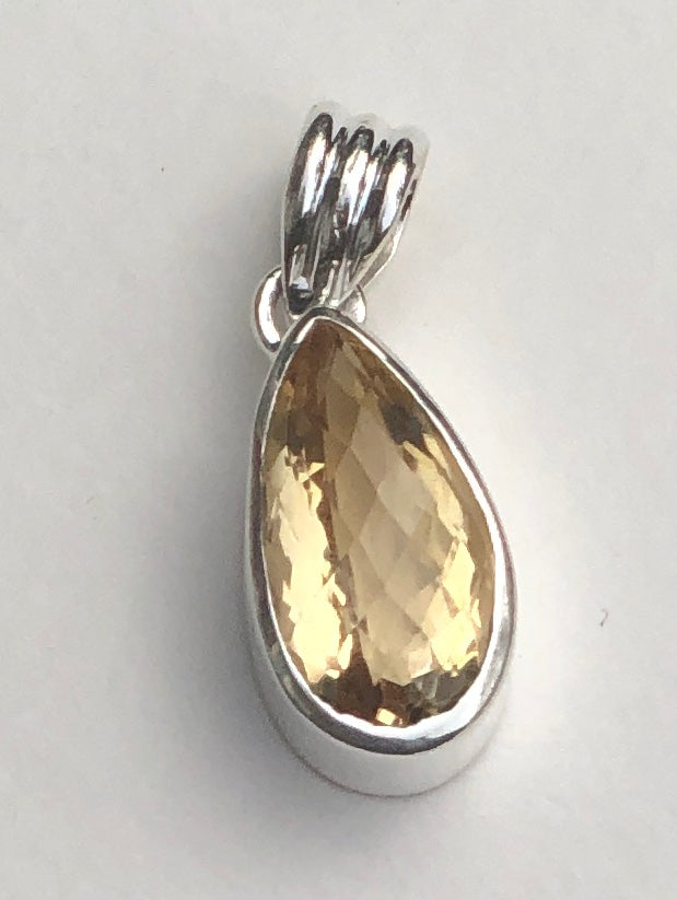 Sterling Silver Faceted Checker Cut Tear drop Citrine Pendants