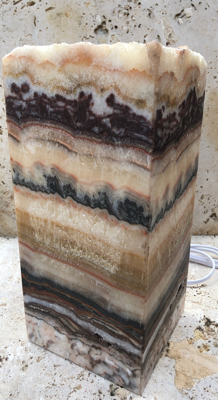 Serpentine Onyx Lamps with Natural Rough Edge