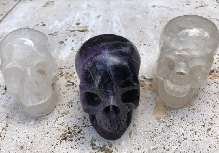Hand carved Crystal Skull - Quartz or Flourite