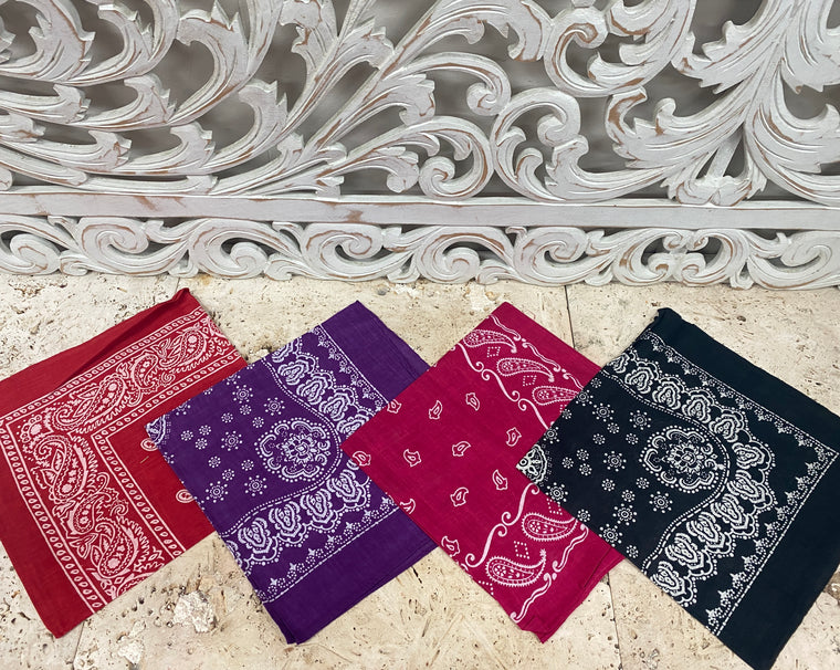 Cotton Indian Paisley Print Bandanas - Available in 4 Colors