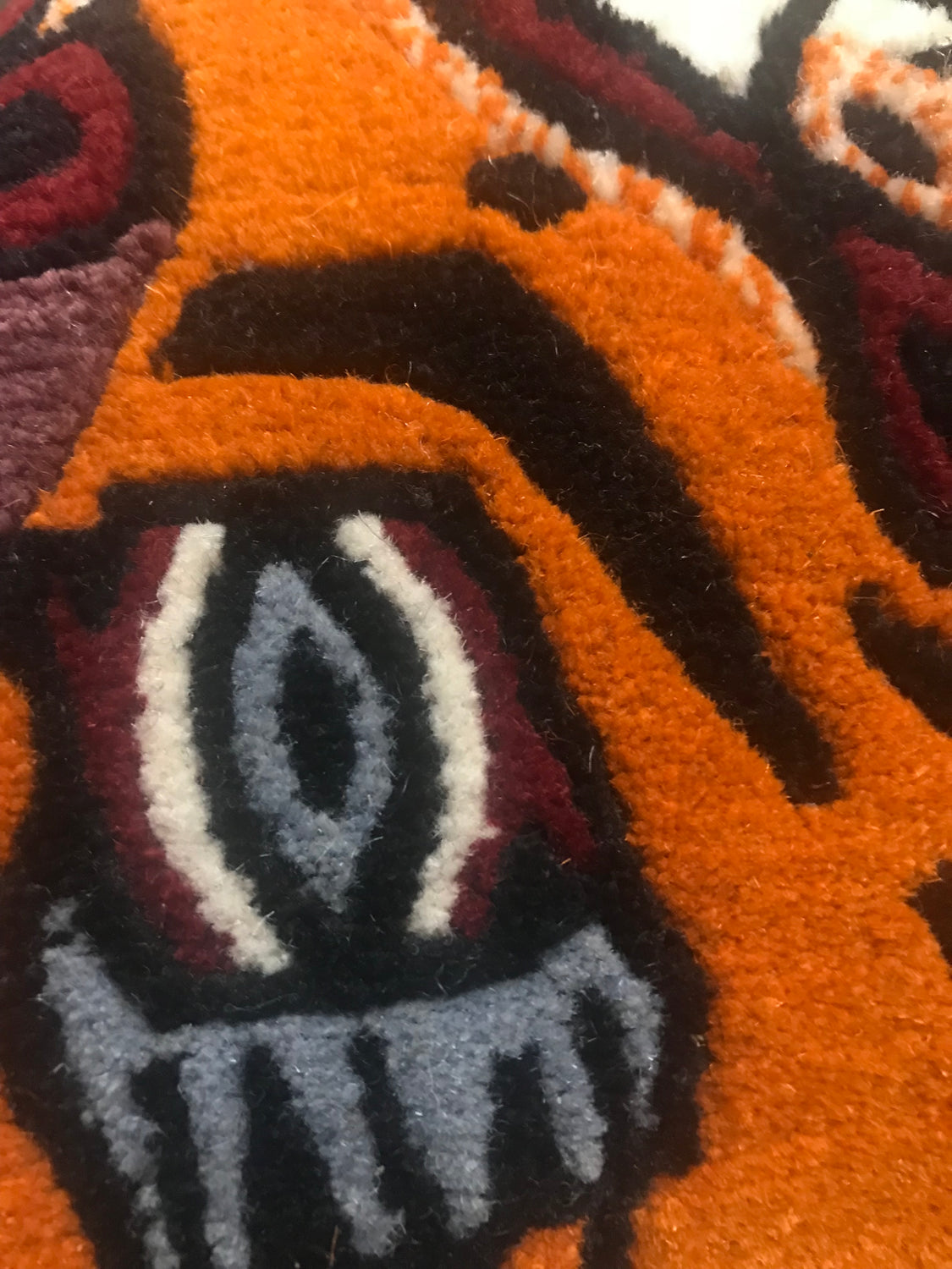 Hand Loomed Wool Tiger Area Rug From Nepal