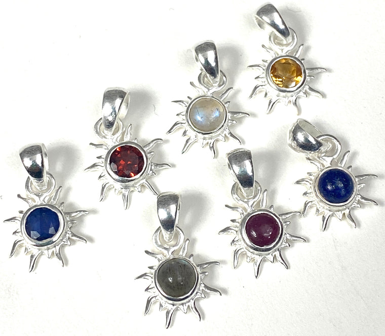Sterling Silver Mini Sun Pendants - Available in 11 stones