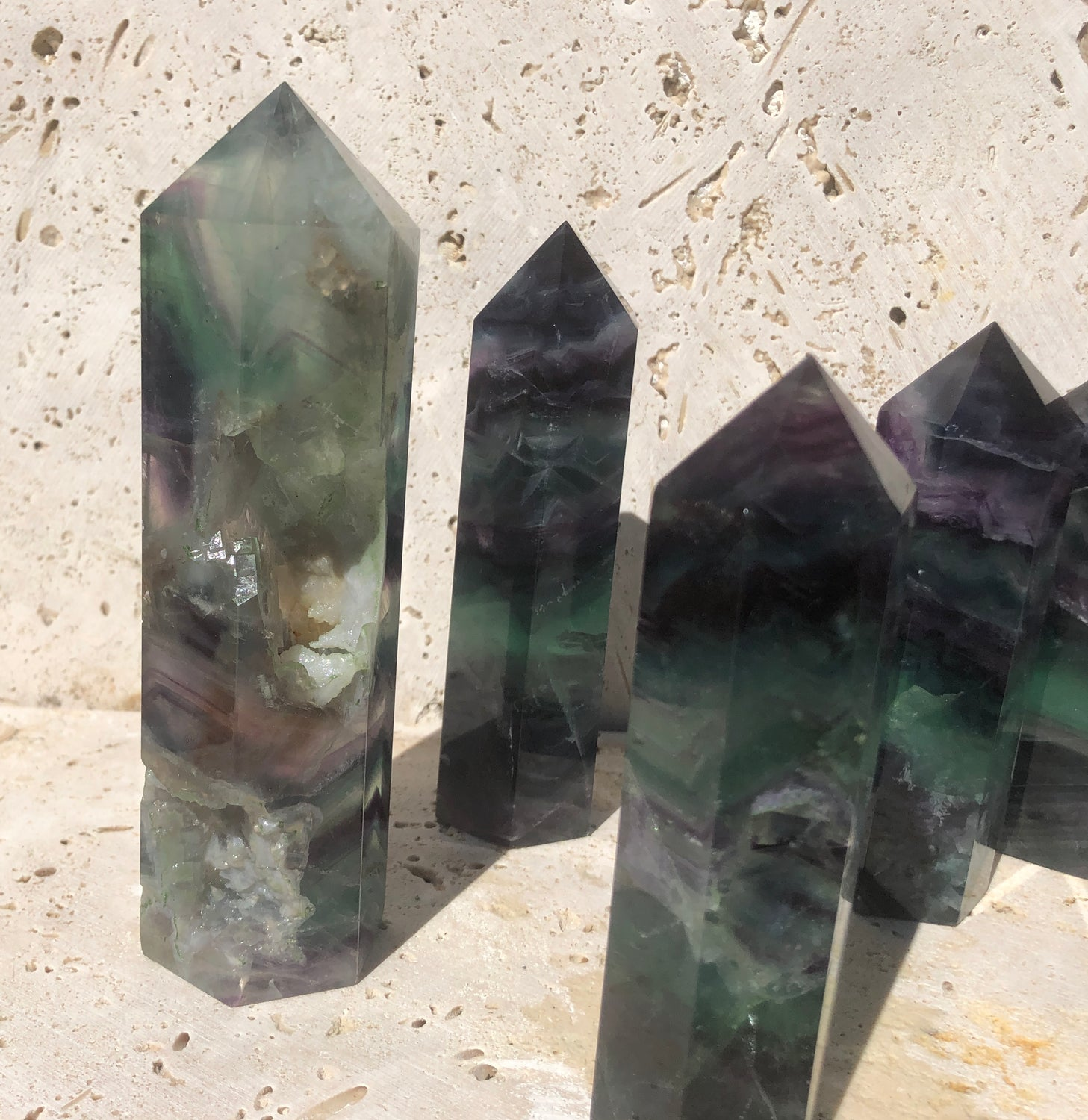 Large Base Cut Fluorite Points - Deep Color