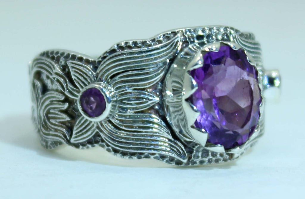 Beautifully Detailed Sterling Silver Amethyst Lotus Flower ring