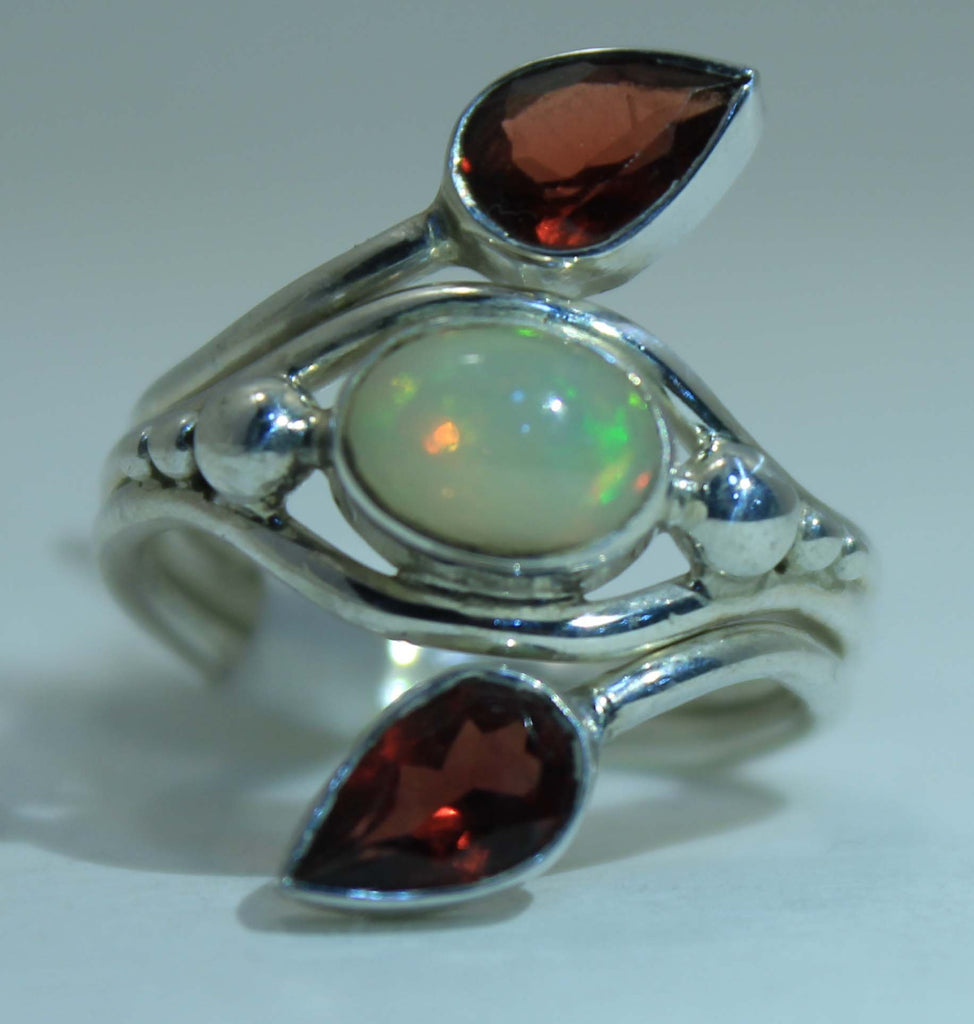Beautifully Detailed Sterling Silver Ethiopian Opal & Garnet ring