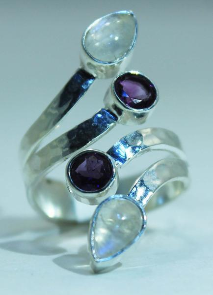 Sterling Silver Ethiopian Opal or Moonstone Teardrop ring -Available in 2 Accent stones