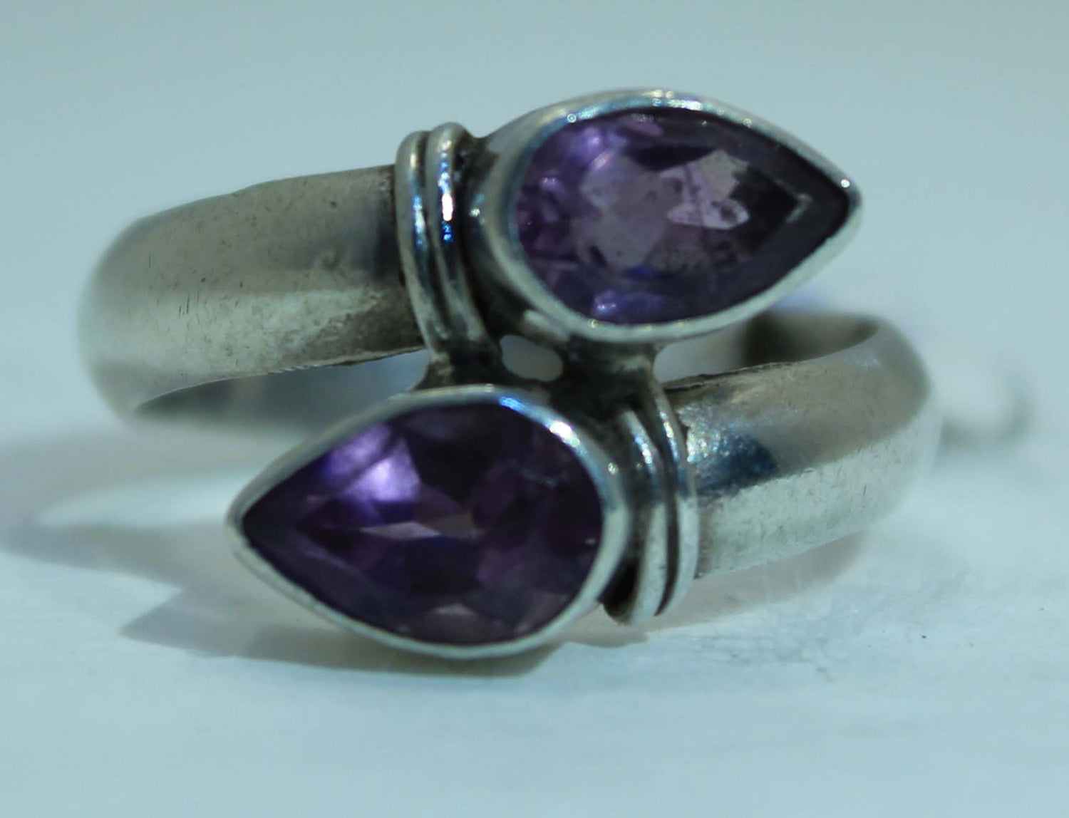 Sterling Silver Double Amethyst ring
