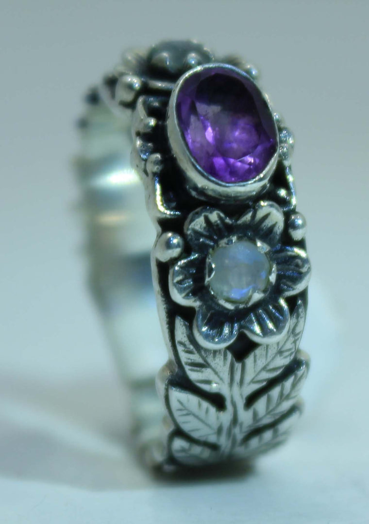 Beautifully Detailed Sterling Silver Vine & Flower ring _ Available in 7 Stones
