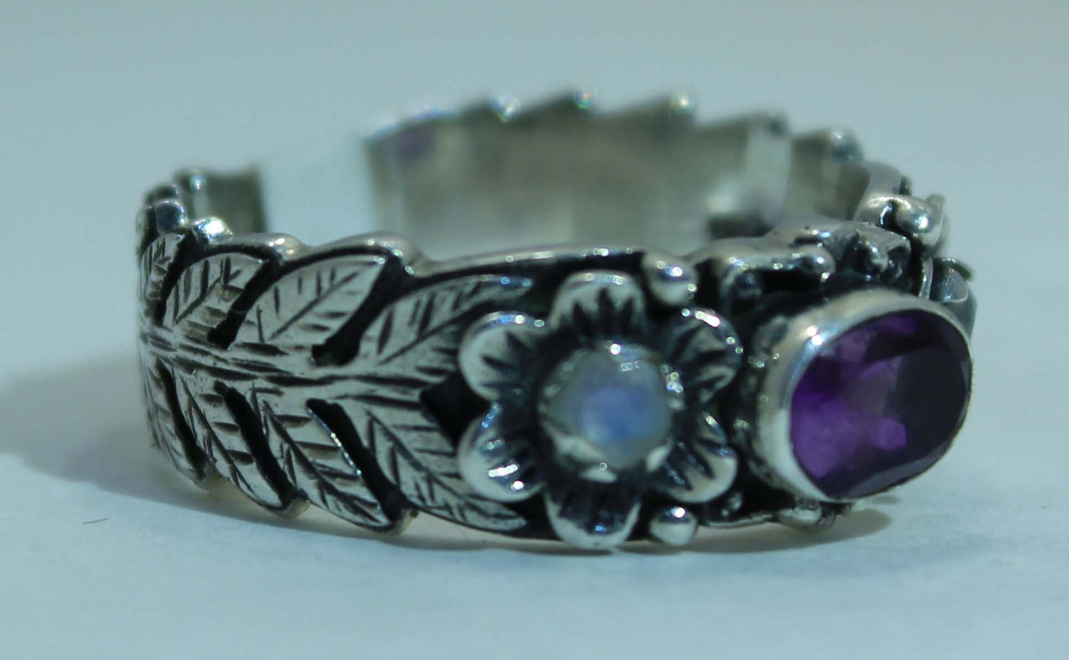 Beautifully Detailed Sterling Silver Amethyst & Rainbow Moonstone Flower ring