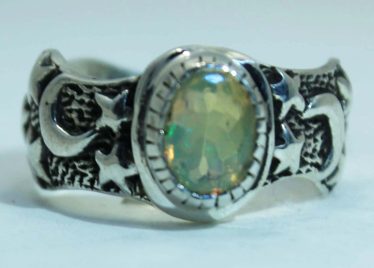 Sterling Silver Ethiopian Opal Moon and Star ring