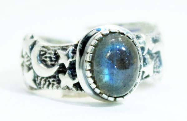 Sterling Silver Moon and Star ring - Available in 10 Stones Sizes 5-13