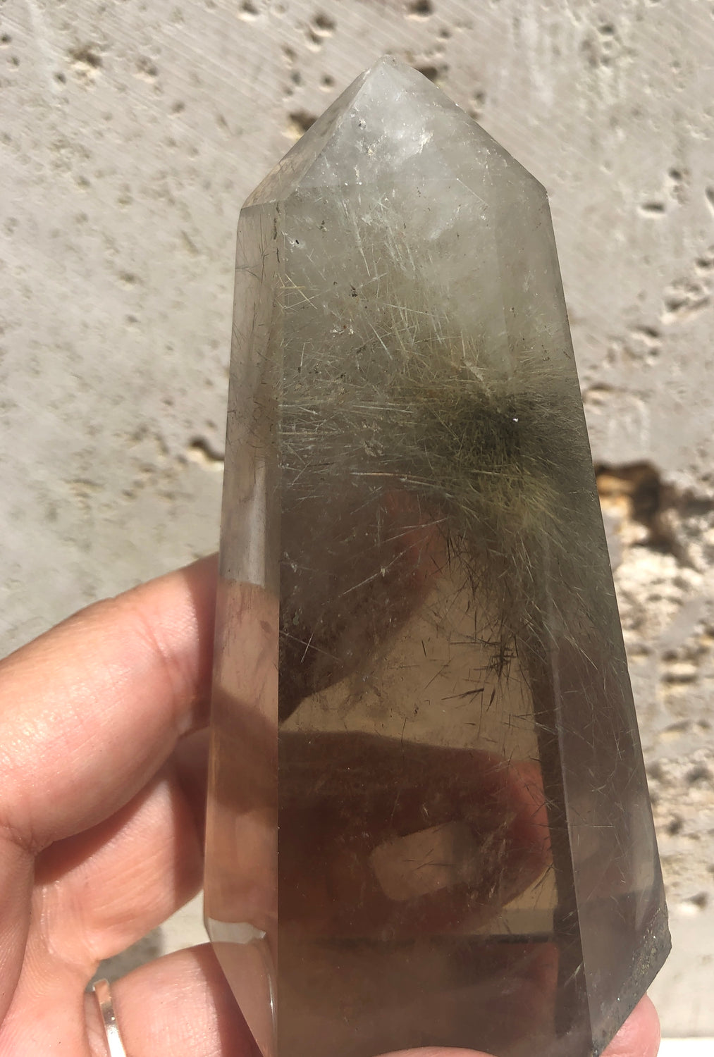 Rare Exceptional Quality Graduated color Rutilated Clear Quartz Base Cut Points