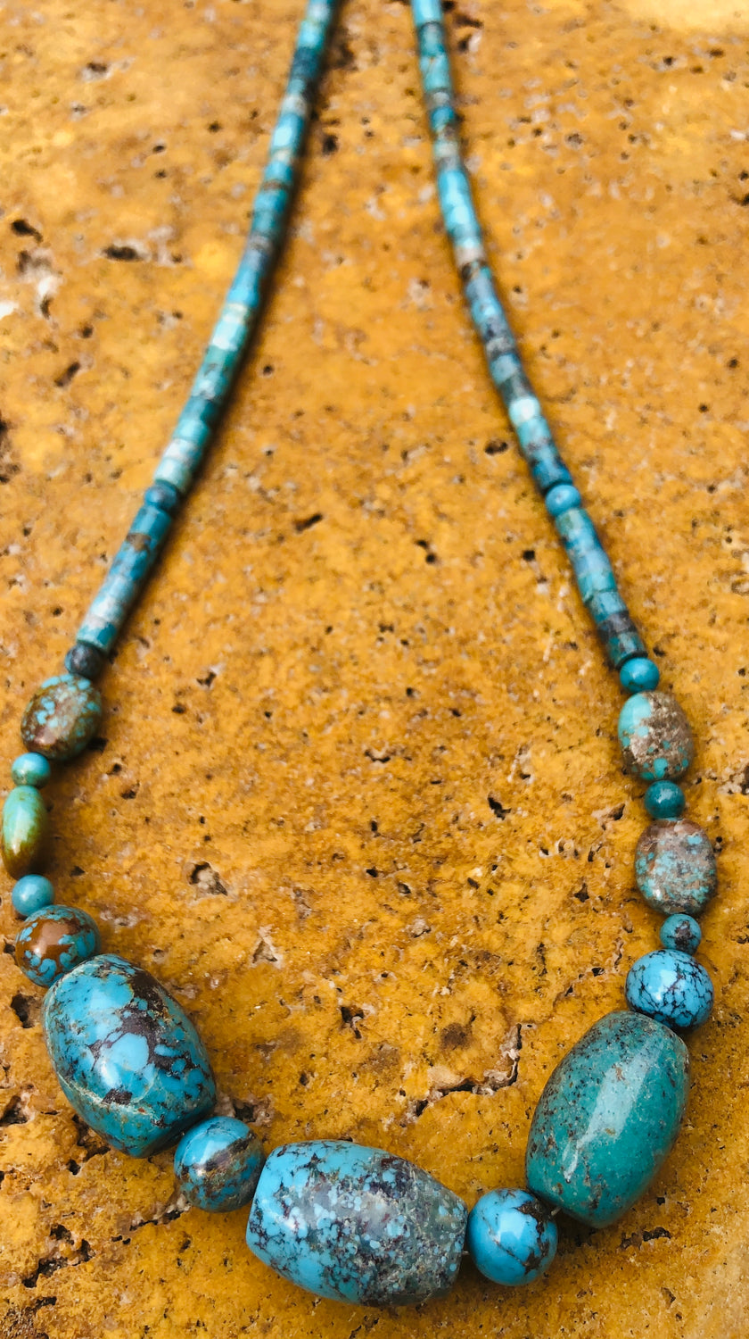 "17"" Natural Turquoise Necklace with sterling clasp"