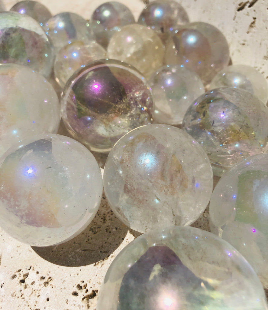 Angel Aura Quartz Crystal Spheres