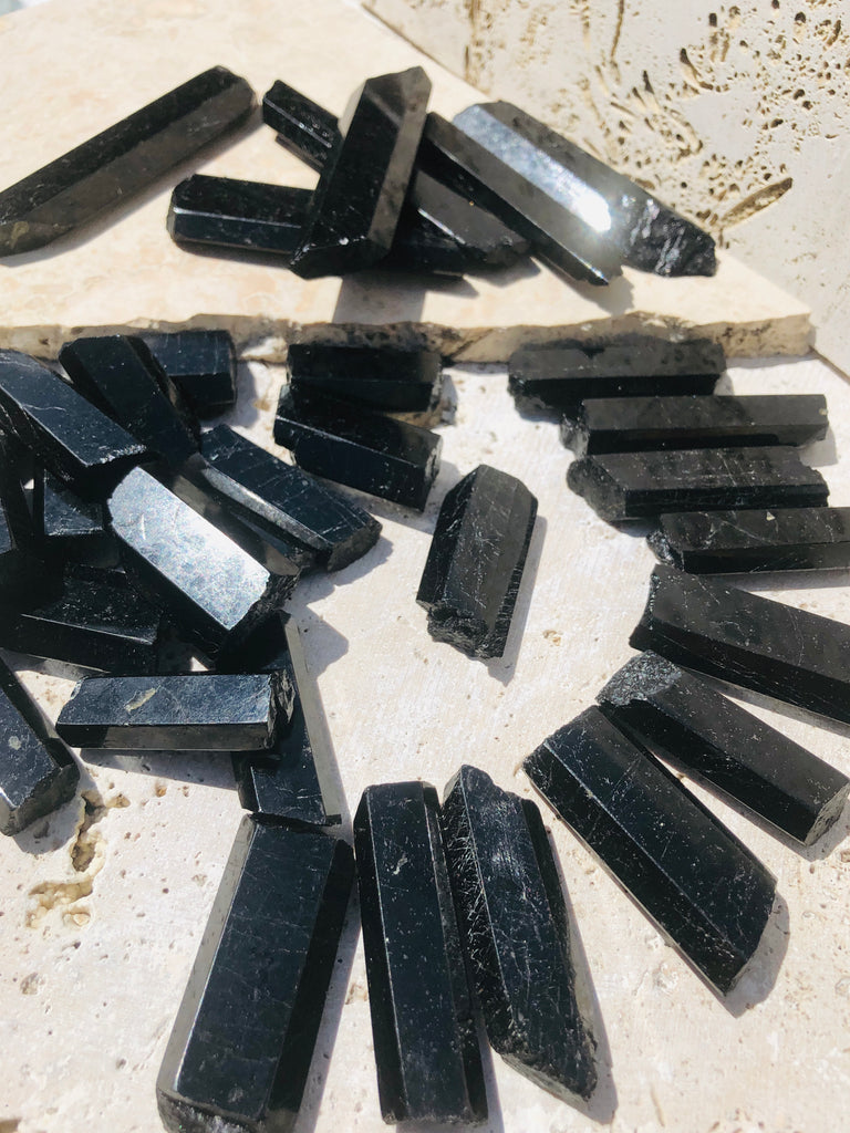 Smooth Polished BlackTourmaline Rods