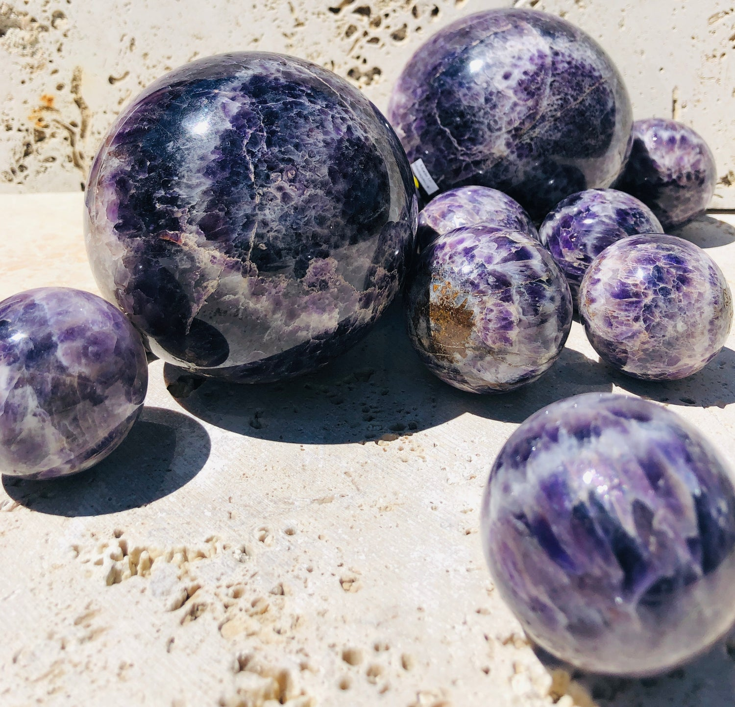 Chevron Amethyst Spheres from Madagascar