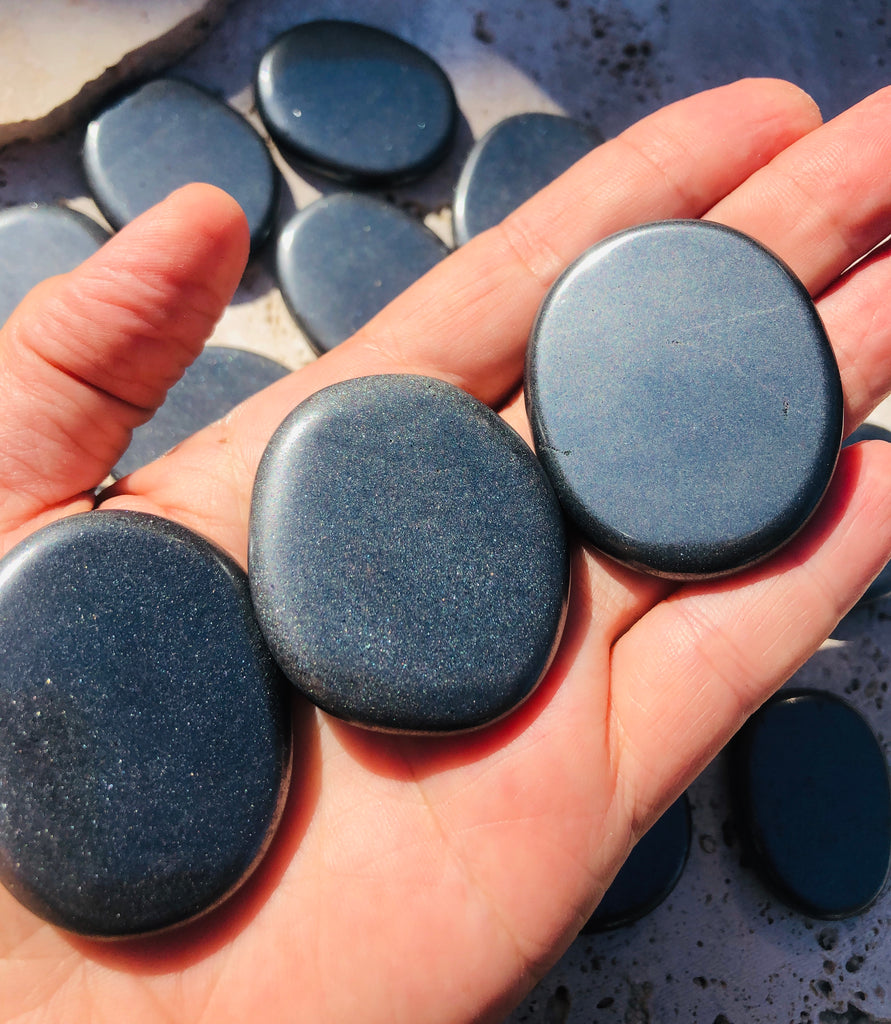 Specular Hematite Large Smooth palmstone from South Africa