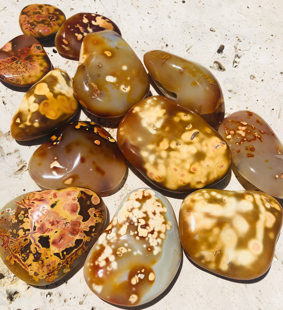 Dendritic Flower Agate Freeform Gallets from Madagascar