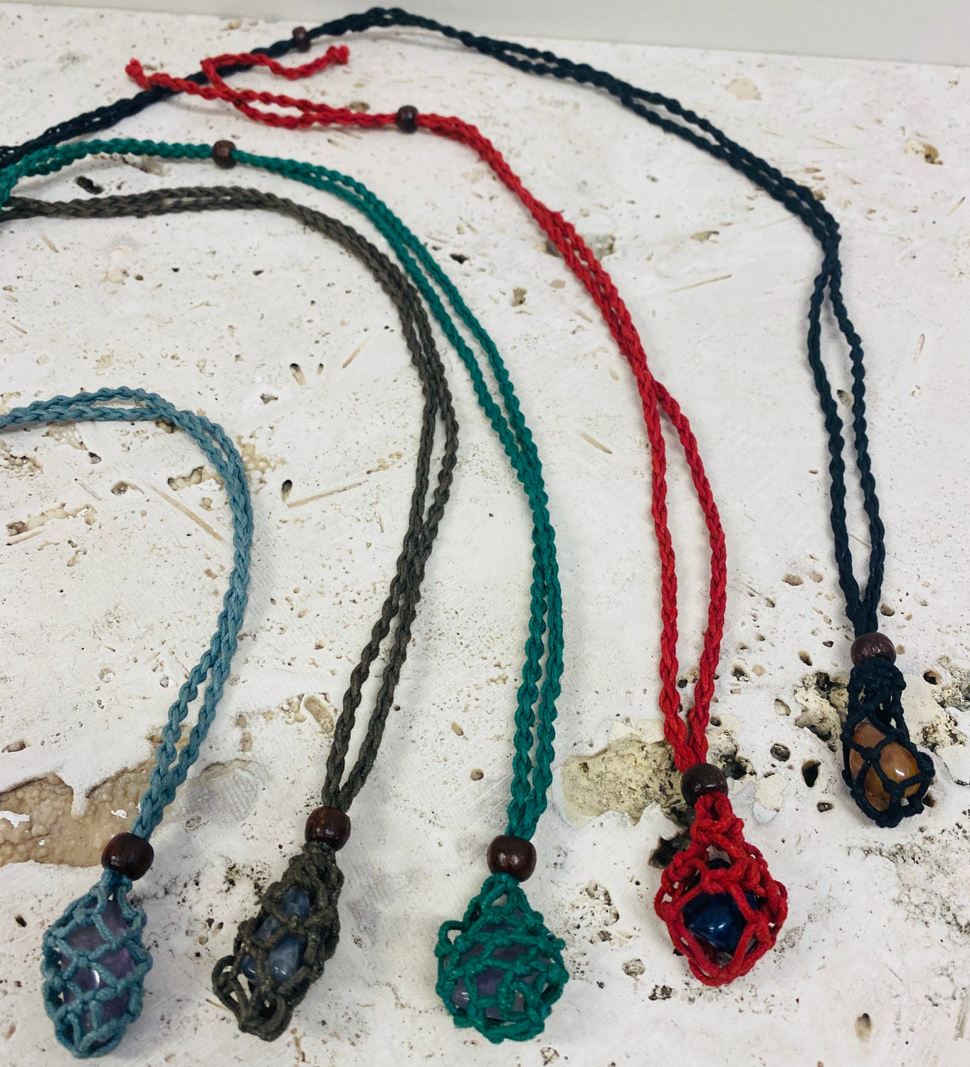 Crochet Crystal Bags Necklaces for tumbled stones and crystals!