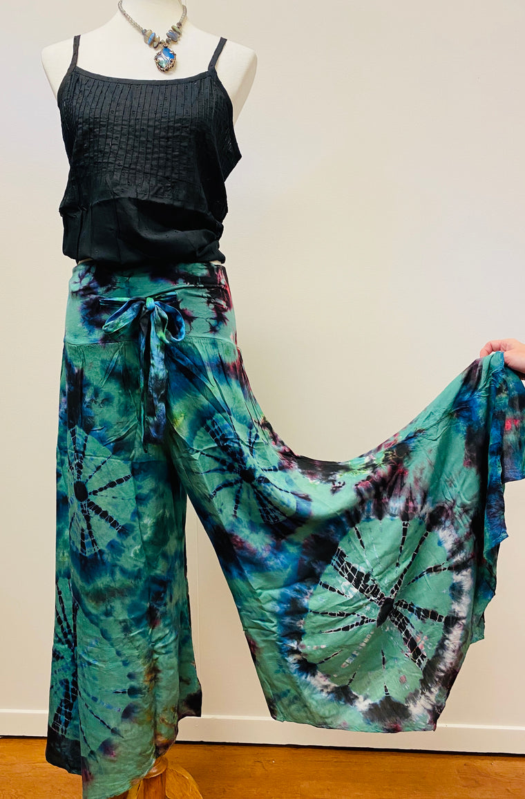 Rayon Tie Dyed Drawstring Pants with fairy bottom - Adjustable Size
