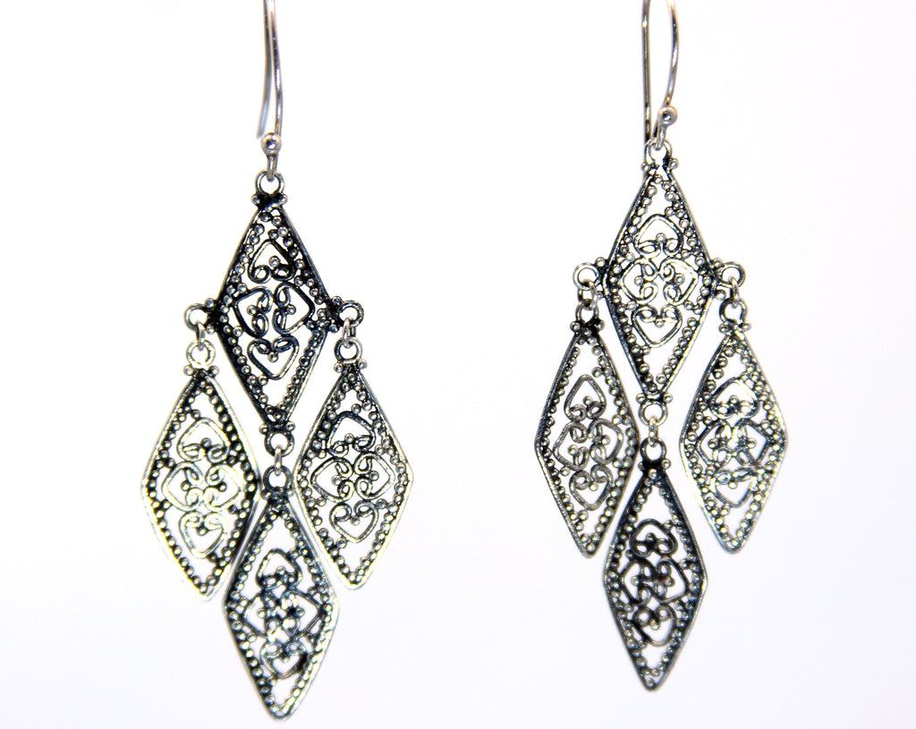 Handmade Sterling Silver Balinese Filigree Earrings