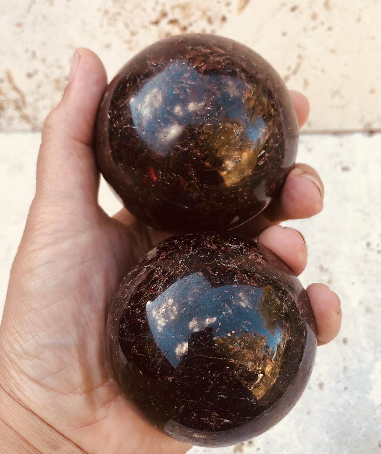 Large Garnet Spheres from India