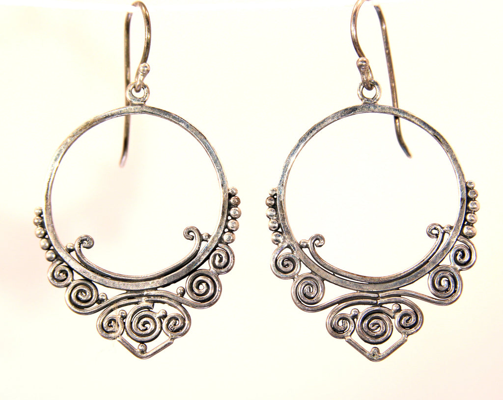 Handmade Sterling Silver Balinese Spiral Hoop Earrings
