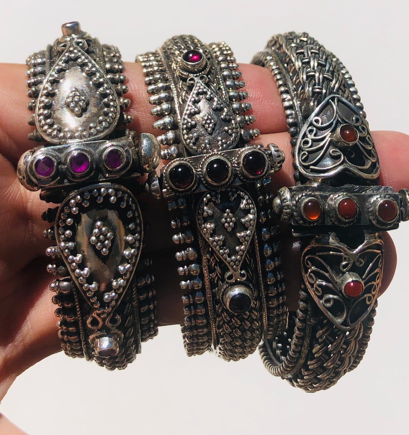 Sterling Silver Traditional Rajasthani Tribal Bracelet with Carnelian from India