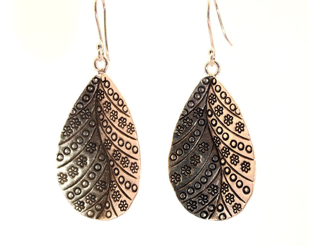 Sterling Silver Hill Tribe Leaf Earrings