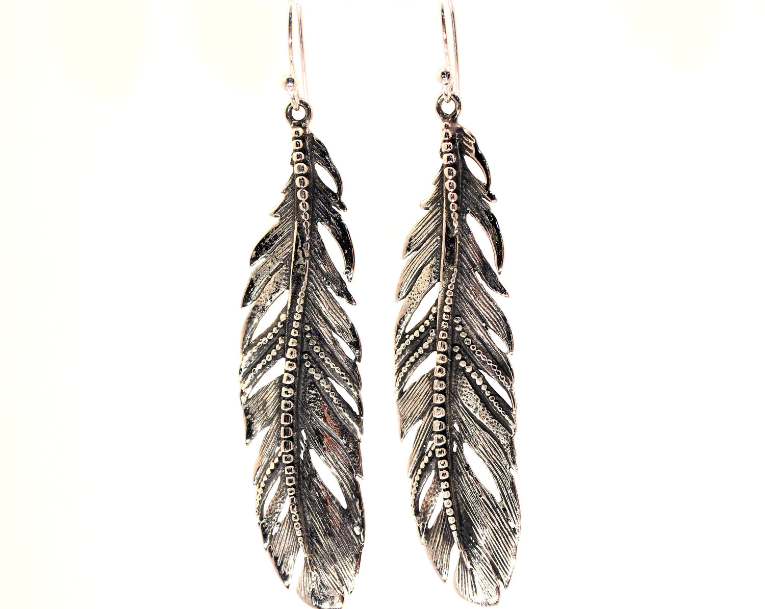 Hand Made Sterling Silver Feather Earrings 2 Sizes