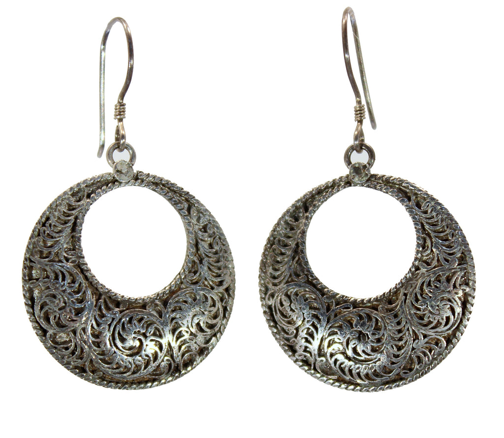 Handmade Sterling Silver Nepalese Filligree Hoop Earrings