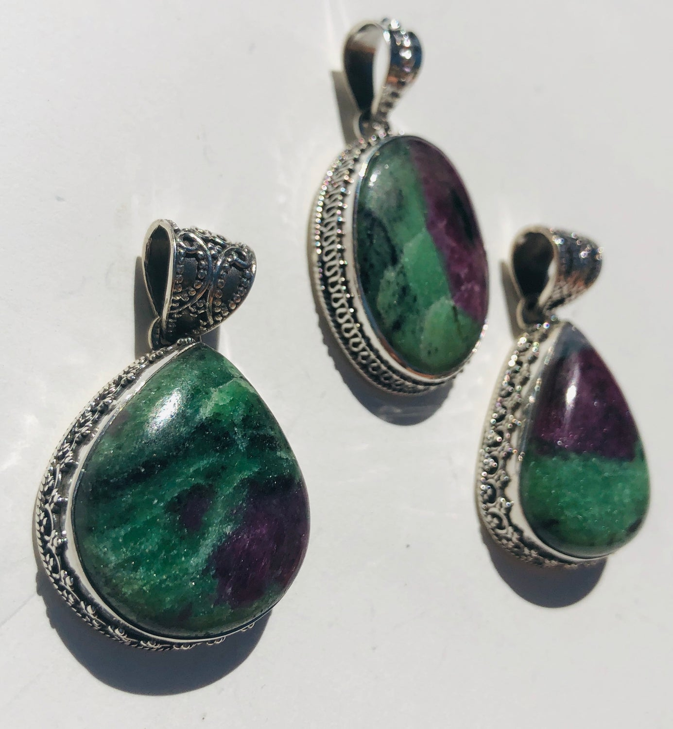 Sterling Silver Ruby Fuchsite Pendant with Detailed Hand work